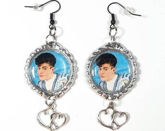 Young Jordan Knight Earrings w/ Heart Charms 1 Pair FREE SHIPPING NKOTB New Kids On The Block