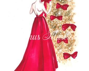 Christmas print, Fashion illustration, Christmas art, Xmas art print, Fashion art, Fashion print, Fashion painting, Christmas decor