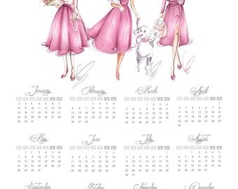 Glance Calendar, Fashion Calendar, Fashion Illustration, 2018 Calendar, Calendar 2018, 2018 Wall Calendar, Wall Calendar 2018, Kalender 2018