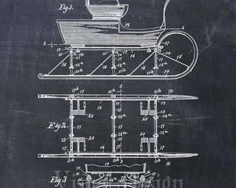 Sleigh Patent Print, Sleigh Patent Art Print, Sleigh Print, Santa, Christmas, Patent Prints