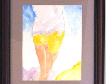 """Woman in Back ( series of paintings and sketches showing """"women in back"""".  Watercolor, completely matted and framed, ready to hang."""