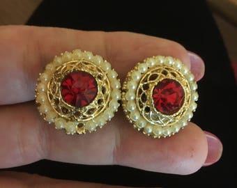 Red Stone/Pearl Earrings