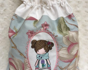 Bag with embroidery doll-towel Holder