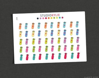 Water Bottle Icons  - Planner Stickers -Repositionable Matte Vinyl to suit all planners