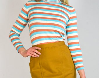 Vintage High Waisted Warm Wool Gold Mustard Mini Skirt