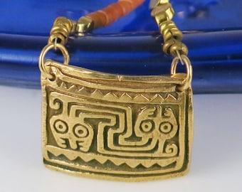Inca Peruvian Kiln-Fired Bronze Pendant with African  Bronze Beaded Chain Necklace - Peruvian Inca Serpent Design Beaded Necklace Gift