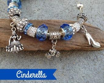 Cinderella Bracelet, Charm Bracelet, Fairytale, Stocking Stuffer, Princess Jewelry, Princess Charm, Castle Charm, European Beads