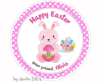 """Custom Easter Bunny and Easter Eggs Printable 2.5"""" Tags-Happy Easter D.I.Y Tags- Personalized Stickers (You Print) 2.5"""" tags-Digital file"""