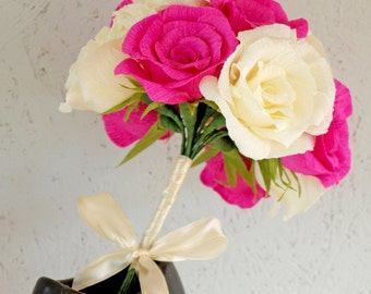Pink and Cream Paper Flower Wedding Bouquet, Pink Cream Bridal Bouquet,Crepe paper Wedding Flower Bouquet, Crepe Paper Roses