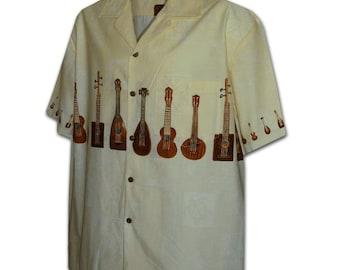 Ukulele Shapes Cream Pacific Legend Hawaiian Aloha Shirt 440-3753