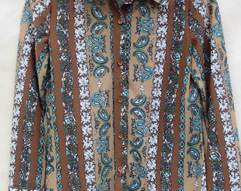 70s shirt etsy vintage poly shirt disco poly shirt paisley vintage 70s shirt disco paisley shirt sciox Image collections