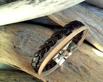 Leather bracelet for Man, beige leather, dark brown leather, double link braided, Boho jewelry, By Dodie