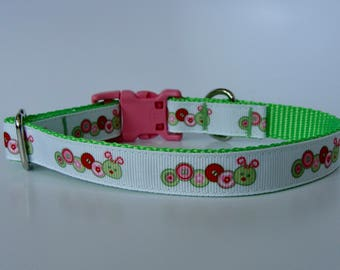 Lime Green Caterpillar Small Dog Collar - READY TO SHIP!