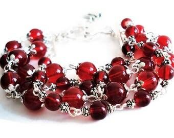 Red Bracelet Glass Jewelry Multi Strand Silver Bracelet Statement Jewelry Glass Bracelet Red Jewelry Boho Bracelet Everyday Jewelry For Her