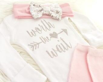 Newborn girl outfit, baby girl outfit, newborn girl gown, going home outfit, coming home baby girl, baby girl, newborn girl