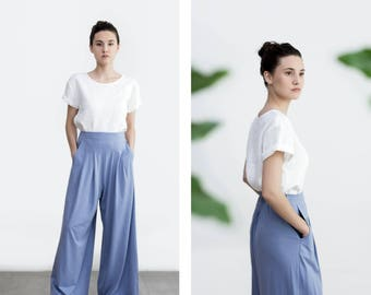 Palazzo Pants , Wide Leg Pants , Loose fite Pants , Cotton High waisted Trouser , ethical clothing , plus size Pants