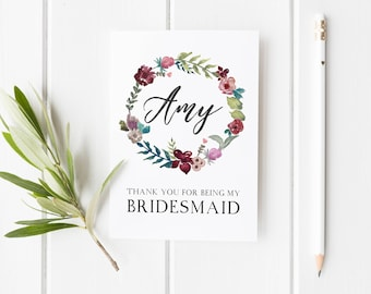 Thank You Card For Bridesmaid, Thank You Bridesmaid, Winter Wedding Card, Maid Of Honor Card, Wreath Bridesmaid Card, Pretty Bridesmaid Card