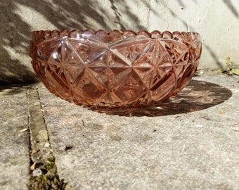 Vintage Pink Pressed Glass Bowl