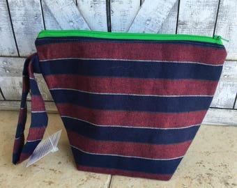 Flannel Knitting Bag,Large Crochet Project bag,Flannel crochet bag,Sock Bag,Knitting Project Bag,knitting bag,Toad Hollow Bag,Wedge Bag
