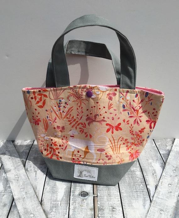 Mini Tote Bag-Renaissance Style Fabric Knitting Bag,Sock Tote Bag,Tote Bag,Crochet Project,Knitting Project Bag,Crochet Bag,Mini Tote