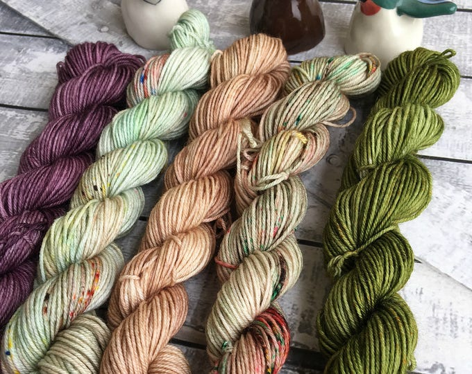 Featured listing image: Hand Dyed Yarn Mini Skeins,The Little Princess Collection Mini Skein Set,Fingering Weight,Mini Skeins Sock Yarn,Mini Skeins of Yarn,Speckled