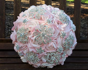 Pink Brooch Bouquet Bridal Brooch Bouquet Ready to Ship Bouquet Vintage Style Bouquet Artificial Flowers