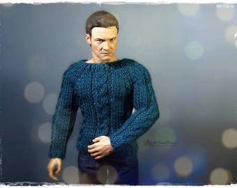 1/6 ACTION FIGURE Sweater, Jumper, male fashion dolls - Knitted Patterned Dark Turquoise Sweater #2
