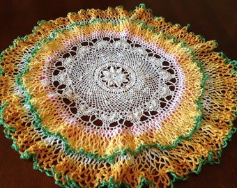 Vintage Crocheted Doily, White Yellow Orange Green Pink Doily, Fall Color Doily, Handmade Crochet Doily, Ruffled Doily, Fall Table Decor