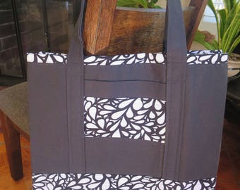 Black and White Grocery Tote // Everyday Tote Bag // Canvas Tote Bag // Grocery Bag