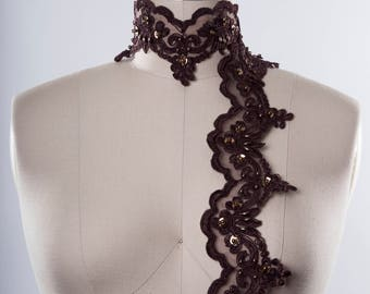 Chocolate Brown Lace Trim with Brown Beads and Copper Toned Sequins/ Brown Beaded Costume Lace Trim