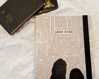 Jane Eyre Journal, Book Page Journal, Lined Journal, Charlotte Brontë, Book Nook, Large Journal, Silhouette, Journaling, MarjorieMae