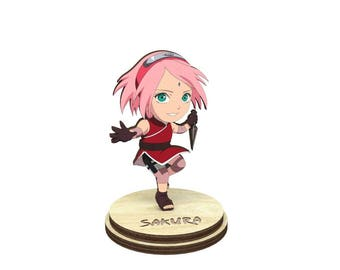 Sakura   Naruto Wood Figurine on a stand