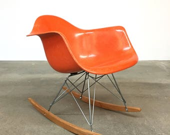 Herman Miller | Eames Orange Arm Shell Rocker RKR | Summit mid century