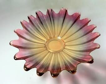 Federal Glass Bowl, Celestial Marigold, Iridescent Purple, Starburst Shape, Discontinued, Centerpiece