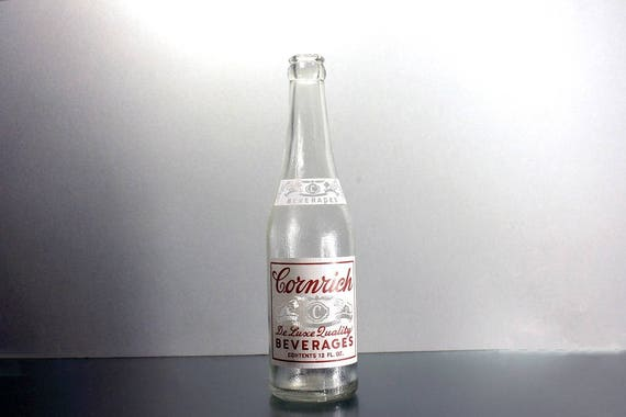 Soda Bottle, Cornrich Beverages, 12 Ounce, Clear Glass, Pyro Glazed, Red and White