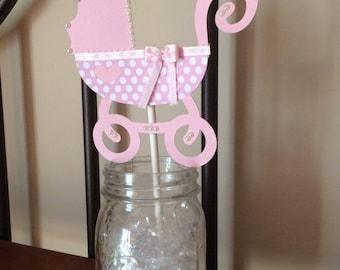 Girl Baby Shower Centerpiece, Baby Shower Centerpiece, Pink Baby Shower, Baby Carriage Centerpiece, Girl Baby Shower, Baby Shower Decor