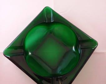 Emerald Green Glass Ashtray