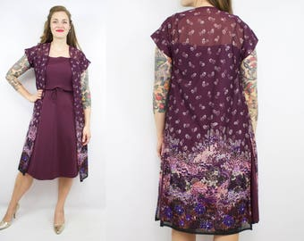 Vintage 70's Purple Dress Set / 1970's Fall Floral Dress / Tie Straps / Women's Size Large