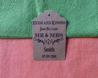 KRAFT Hugs and Kisses Tag, Hugs and Kisses from Mr and Mrs. Wedding Favor Tag, Personalized Tag. Kraft Thank You tag Set of 25 to 300 pieces