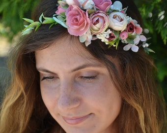 Bridal halo Wedding halo Bridal Flower crown Flower headpiece Flower hair wreath Flower headband Flower halo Hair wreath Rustic hair wreath