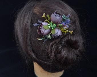 Gift/for/bride Plum flower comb Gift/for/woman Dark purple hair comb Wedding accessories Bridal hair Bridal accessories Plum Flowers in hair
