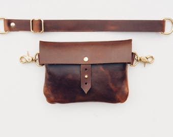classic festival fanny pack // napa excel brown leather + solid brass hardware / worn as hip bag, fanny pack, shoulder and cross-body