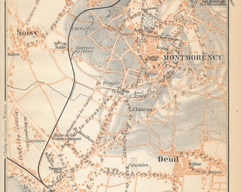 1910 Antique Map of Enghien and Montmorency, Paris France