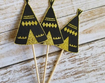 Black Teepee Cupcake Toppers... Young Wild & Three... Black... Baby Boy.. Wild One