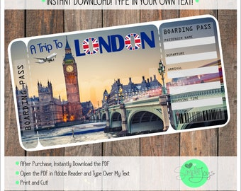 Printable Ticket to London Boarding Pass, Customizable Template, Digital File - You Fill and Print