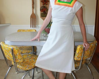 Vintage White Knee Length Dress Polyester