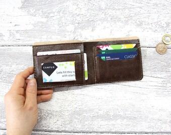 Leather wallet blue and brown, Mens wallet, bifold wallet ID wallet, minimalist wallet, wallet men personalized, card holder, badge holder