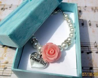 Flower girl bracelet-Flower girl gift-childrens pearl bracelet-little girls-wedding jewelry-Pink flower jewelry-girls wedding-toddlers pearl