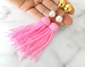 Pink and Yellow Beaded Tassel Clip-On Statement Earrings