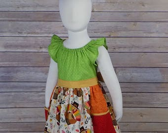 Thanksgiving Dress, Turkey Dress, Thanksgiving Outfit, Baby Girl, Big Girl, Toddler, Brother Sister, Matching, Set, Flutter Sleeves, Pockets